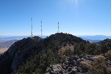 radio towers on the summit