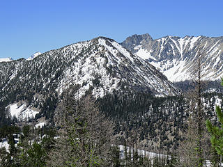 Point 8033' and unnamed point on the ridgeline between Martin Creek and Eagle Creek Basins just East of Cheops.