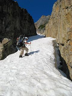 Ascending the gully