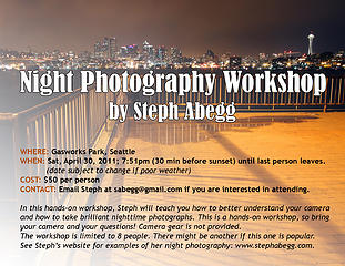 Night photography workshop, April 30 2011.