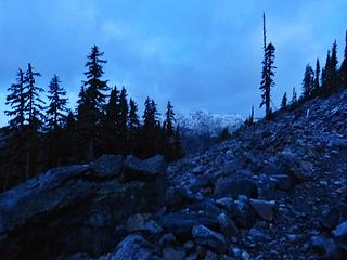 First light at the talus field