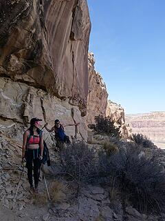 One of the many ledges used on the route