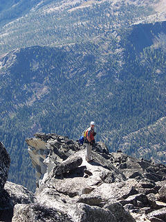 Kyled looking for route across false summit ridge.