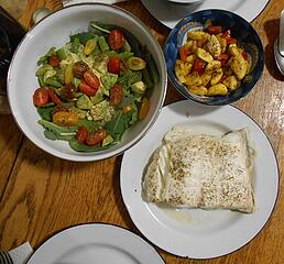 halibut filet with yellow summer squash and salad 102720