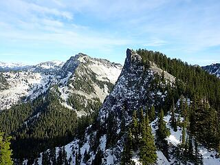 Terrace and an unnamed peak on the Southeast ridge of Shroud