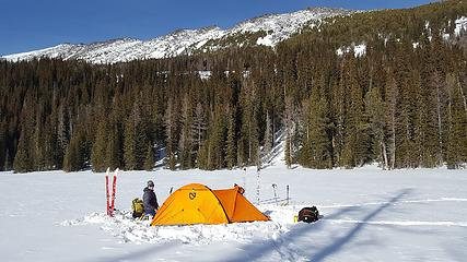 Our camp at Crater Lake with Raven Ridge in the background