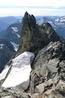 Sergio scrambling near the summit on the descent.