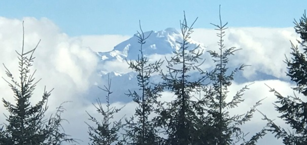 our only view for the day, Glacier Peak