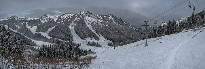 Early season snow at Crystal Mtn Ski area, weather approaching . . .