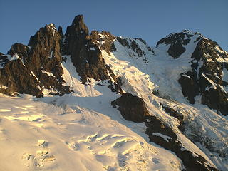 Nooksack Tower, the Price Glacier, and Mt. Shuksan in waning light.