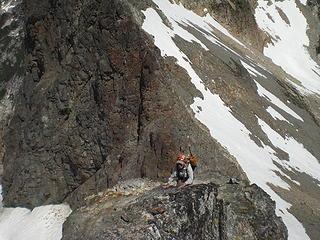 Fay climbing below E Fury.