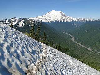 Looking back on last remaining snow patch on Crystal Peak trail.