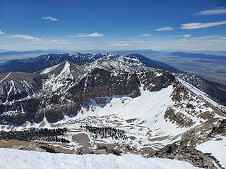 Summit views looking south to Baker Peak's north face