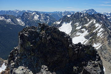 False summit from true summit. Route goes around the right edge in this photo
