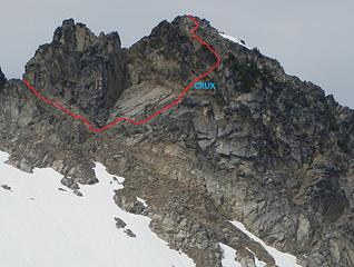 annotated east face route