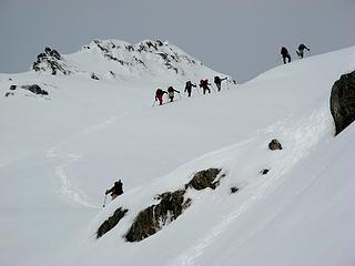 Approaching the summit col