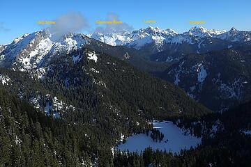 Looking east to Horseshoe Lake, Big Snow, and the Snoqualmie Crest