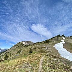 Climbing to Del Monte Ridge