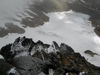 Looking down at the Pilz Glacier