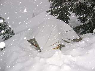 4/29/06, a snowy camp on the way to Little Devil