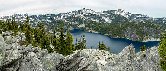 Panorama northwest from St Agnes Ridge. Includes Chimney Rock and Overcoat (over the horizon), Iron Cap-Wild Goat ridge, Tourmaline, Camp Robber Angeline Lake below, Chetwoot Lake peeking throught the gap
