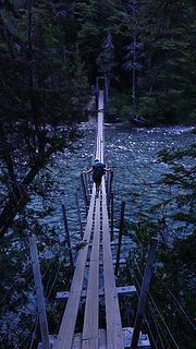 Crossing the rickety bridge over Rio Azul