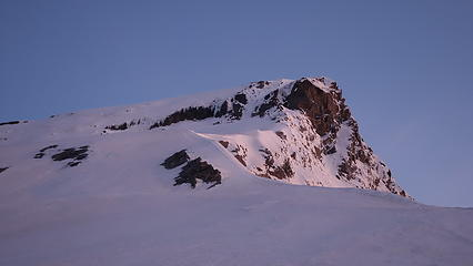 View of the remaining route up the SW ridge with the crux gully visible
