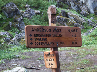 Anderson Pass trail signs