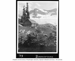 Cabin at upper Lyman Lake with Lyman Glacier in the background, August 1921 [[url=https://digitalcollections.lib.washington.edu/digital/collection/mtn/id/386]Link[/url]]