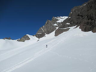 Reed breaking trail toward the first couloir