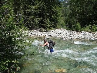 Josh crossing Eureka Creek again