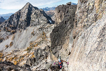 climbing the second gully on emerald