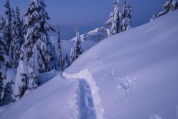 Deep ski tracks
