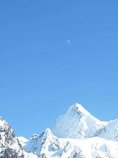 Moon above Mt. Shuksan