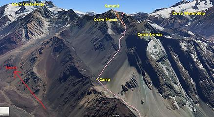 Cerro Placas SW Face Route Topo - Class 4