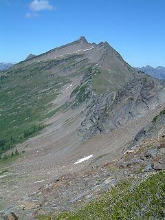 Whittier Peak as seen from the NW ridge of Longfellow Mtn.