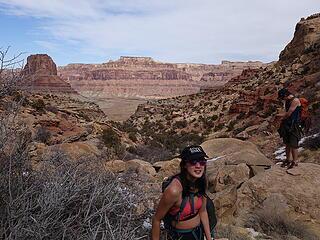 Elaine happy to be in the desert