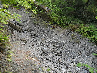 the trail crosses a few gully washouts, most were OK.