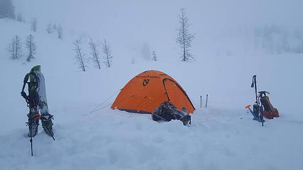 our camp at upper snowy lake