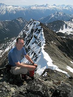 Matt on Gabriel, with approach ridge behind