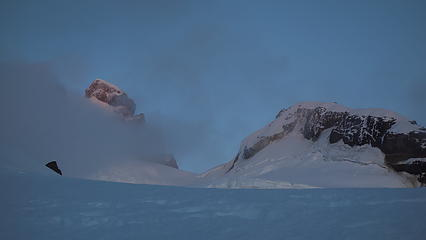 Sunrise on the International (left) and Argentine (right) summits