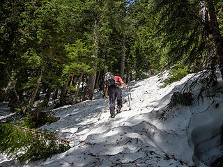 Above the upper basin the terrain steepened a bit but snow conditions were still excellent for booting up the slope