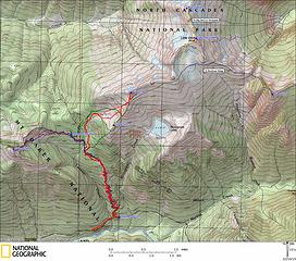 Map of trips from the Monogram/Lookout trailhead