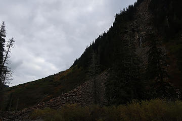 source of the 3 year-old rockfall is cliff in upper right. Sorry about the underexposed pic.