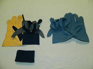shelled fleece glove prepped to sew