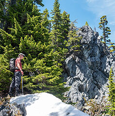We reached the east ridge of Galleon North just below the summit. At first this rocky point looked like it might block us, but it was no problem to pass on the left.