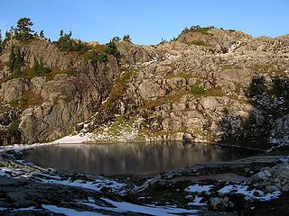 Lower Tarn, with the Southwest Knoll at Left and Camp Promontory at right
