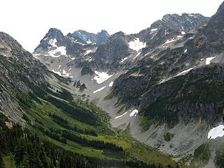 Fisher Creek Basin, with Fisher, Black, & Arriva.  Silent Lakes is in the col between Fisher & Arriva.