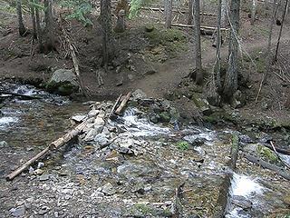 Creek crossing on Crystal Peak trail shortly after fork.