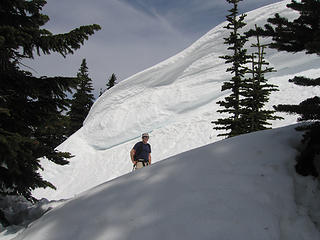 Barry (Middle E) looking for a way around or over the cornice.